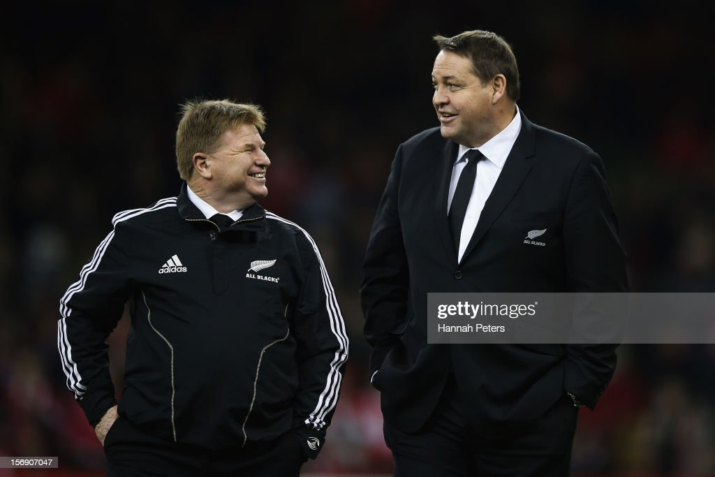 Assistant coach Aussie McLean shares a joke with head coach Steve Hansen of the All Blacks before the international match between Wales and New Zealand at Millennium Stadium on November 24, 2012 in Cardiff, Wales.