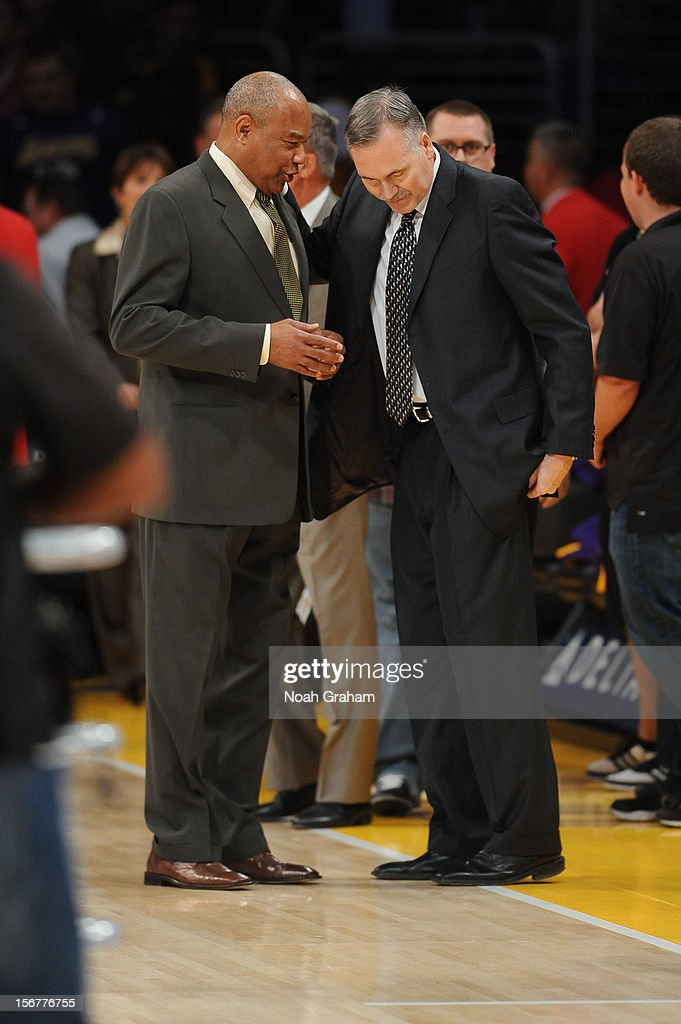 Assistant coach Bernie Bickerstaff speaks to head coach Mike D'Antoni of the Los Angeles Lakers before their game against the Brooklyn Nets at Staples Center on November 20, 2012 in Los Angeles, California.