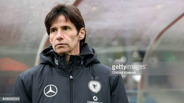 Assistant coach Bettina Weidmann of Germany looks on prior to the UEFA Under19 Women's Euro Qualifier match between Germany and Iceland at Stadium...