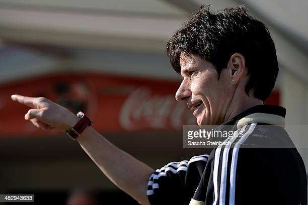 Assistant coach Bettina Wiegmann of Germany gestures during the UEFA Under19 Women's Elite Round match between Czech Republic and Germany on April 5...