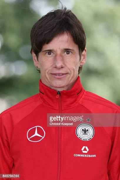 Assistant coach Bettina Wiegmann poses during the U19 Germany Women's Tem Presentation at Sportschule Wedau on September 10 2017 in Duisburg Germany