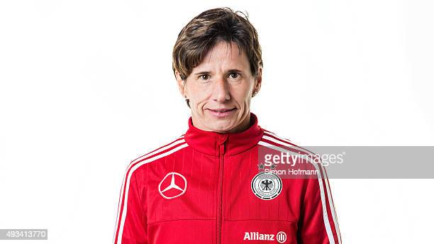 Assistant coach Bettina Wiegmann poses during U20 Women's Germany Team Presentation on October 19 2015 in Baunatal Germany