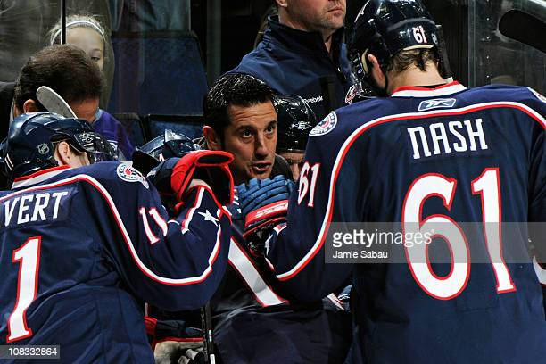 Assistant Coach Bob Boughner of the Columbus Blue Jackets gives instructions to his team during a timeout in a game against the Anaheim Ducks on...