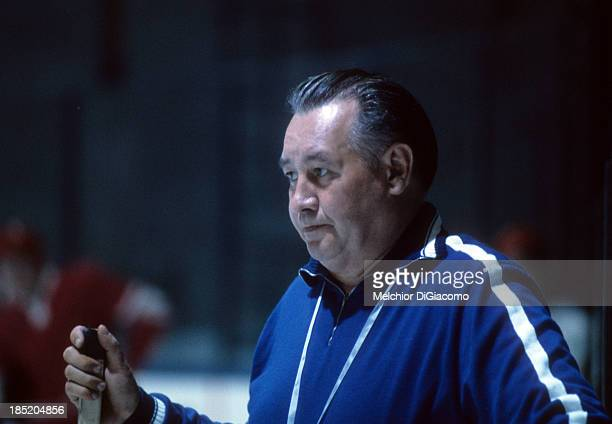 Assistant coach Boris Kulagin of the Soviet Union looks on during practice before Game 1 of the 1972 Summit Series on September 1 1972 at the...