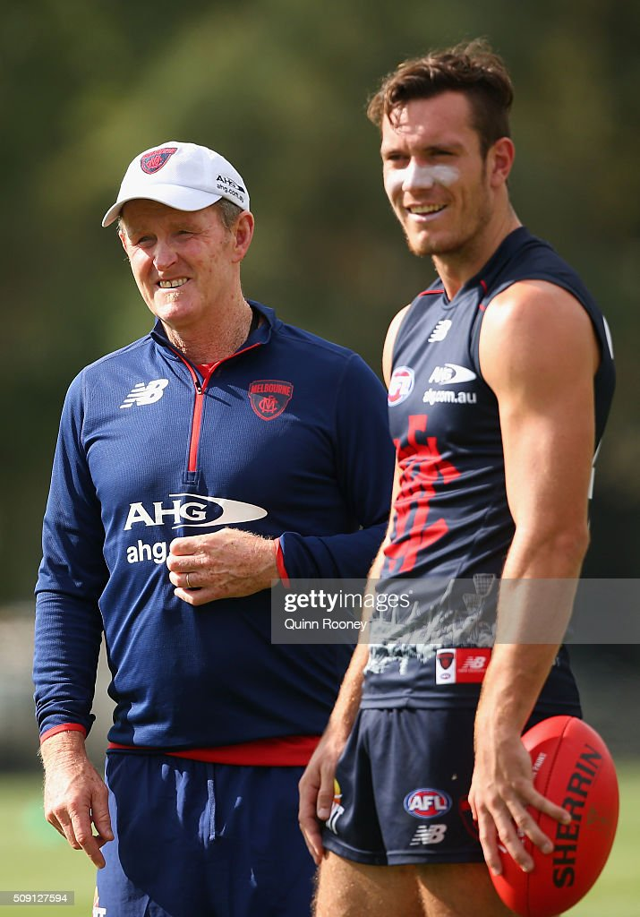 Assistant coach Brendan McCartney and Liam Hullett of the Demons look on during a Melbourne Demons AFL pre-season training session at Gosch's Paddock on February 9, 2016 in Melbourne, Australia.