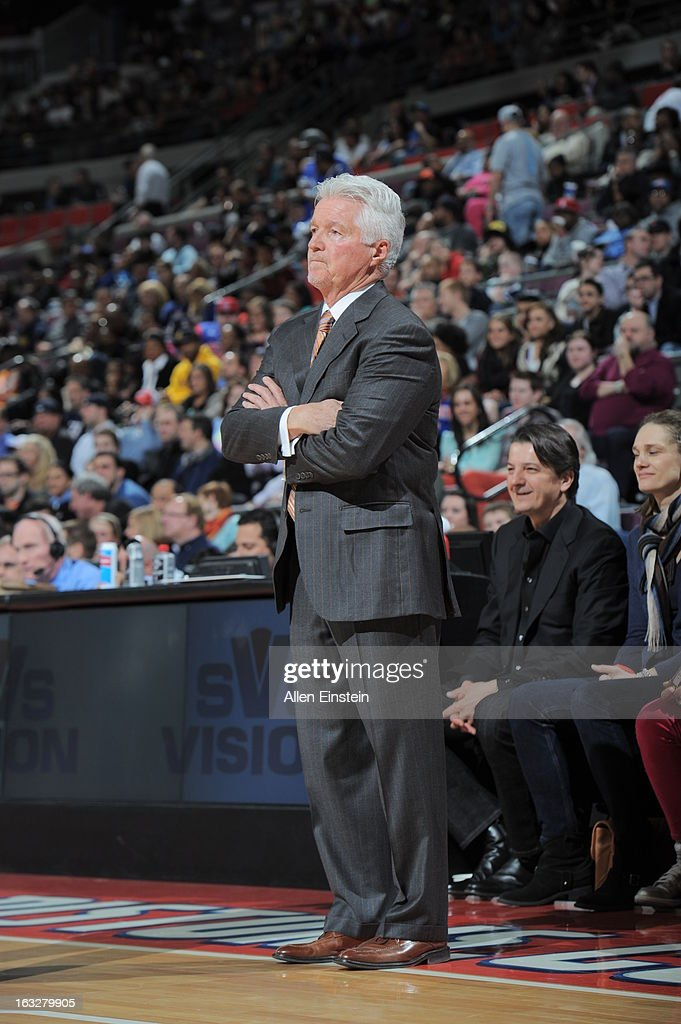 Assistant Coach Brian Hill looks on during the game between the Detroit Pistons and the Atlanta Hawks on March 6, 2013 at The Palace of Auburn Hills in Auburn Hills, Michigan.