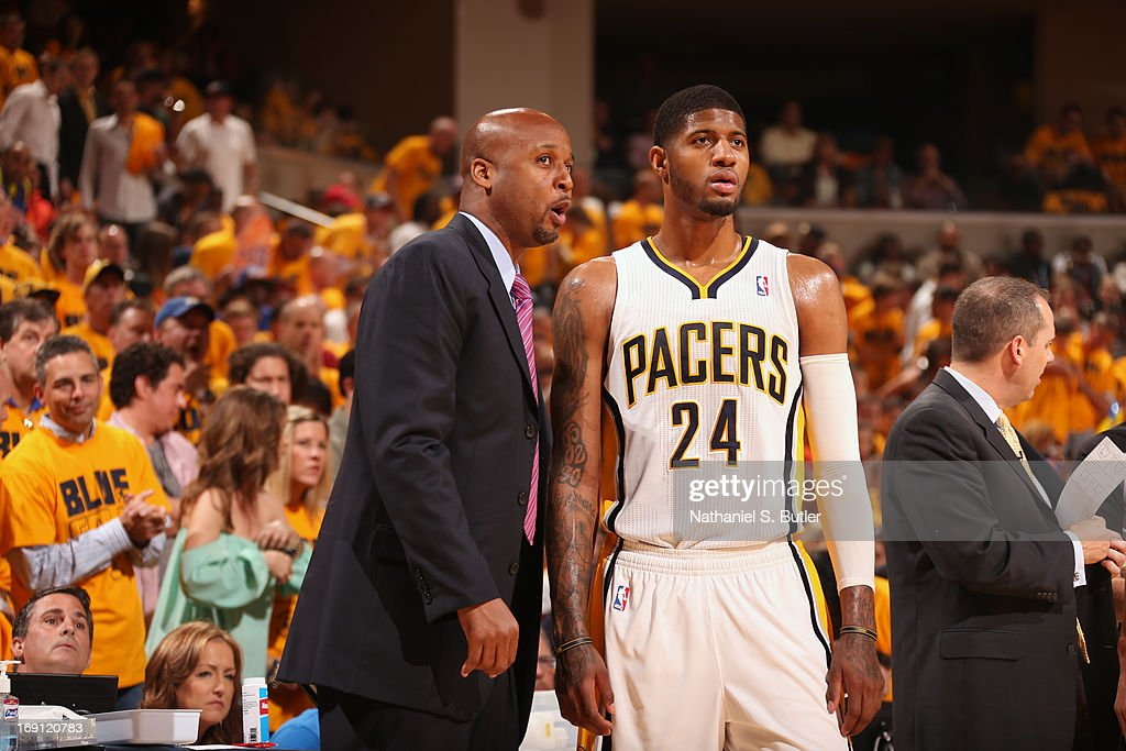 Assistant coach Brian Shaw and Paul George #24 of the Indiana Pacers talk during the game against the New York Knicks in Game Six of the Eastern Conference Semifinals during the 2013 NBA Playoffs on May 18, 2013 at Bankers Life Fieldhouse in Indianapolis, Indiana.