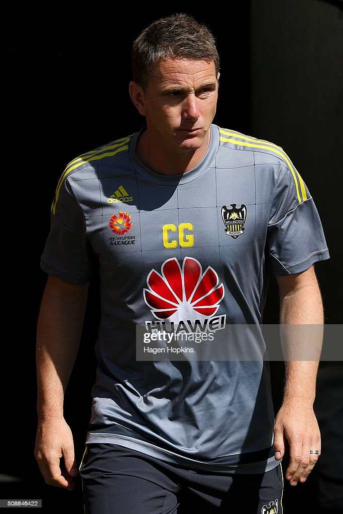 Assistant coach Chris Greenacre of the Phoenix looks on during the round 18 A-League match between Wellington Phoenix and Perth Glory at Westpac Stadium on February 7, 2016 in Wellington, New Zealand.