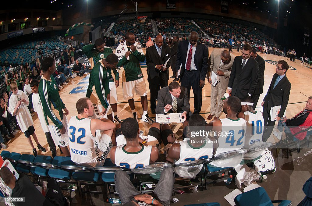 Assistant coach Clay Moser of the Reno Bighorns instructs his team during a timeout against the Utah Flash during the game on November 21, 2010 at the Reno Events Center in Reno, Nevada. Head coach Eric Musselman was ejected earlier in the game.