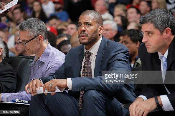 Assistant coach Corliss Williamson of the Sacramento Kings coaches against the Milwaukee Bucks on December 18 2014 at Sleep Train Arena in Sacramento...