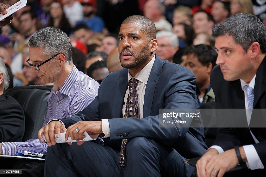 Assistant coach Corliss Williamson of the Sacramento Kings coaches against the Milwaukee Bucks on December 18 2014 at Sleep Train Arena in Sacramento...