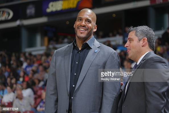 Assistant coach Corliss Williamson of the Sacramento Kings coaches against the New Orleans Pelicans on April 3 2015 at Sleep Train Arena in...
