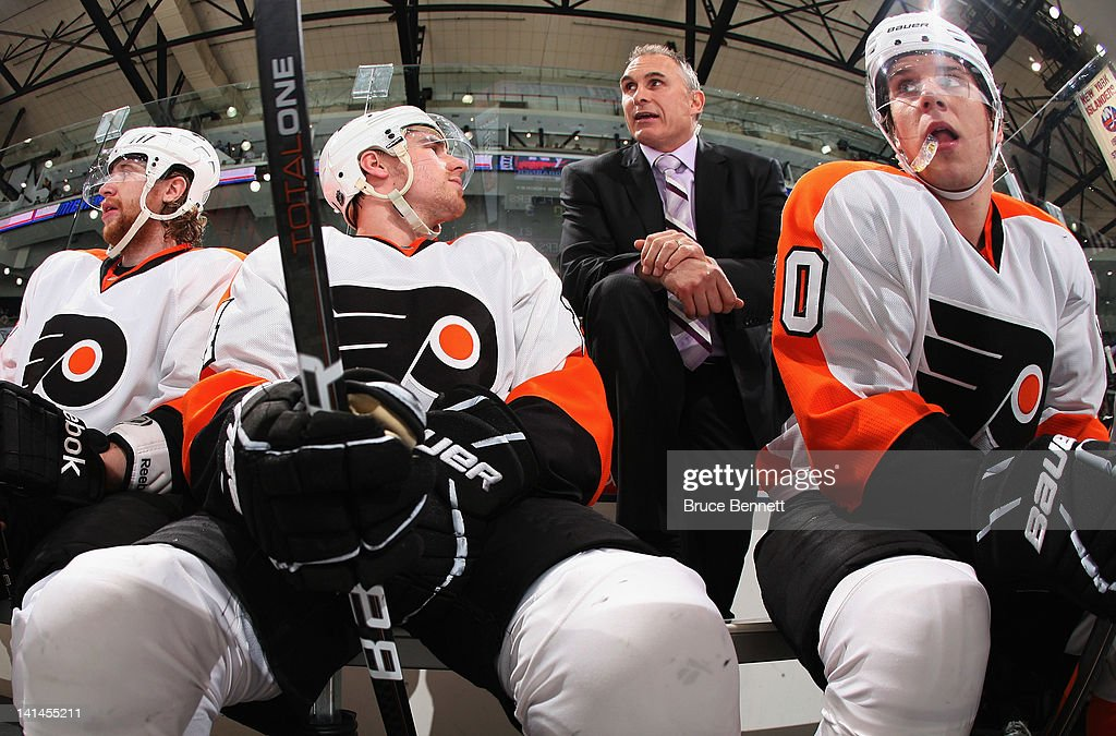 Assistant coach Craig Berube of the Philadelphia Flyers handles bench duties in the game against the New York Islanders at the Nassau Veterans Memorial Coliseum on March 15, 2012 in Uniondale, New York.