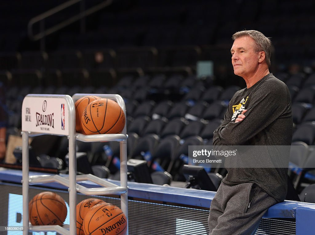 Assistant coach Dan D'Antoni of the Los Angeles Lakers (formerly of the Knicks) watches the shoot around prior to the game against the New York Knicks at Madison Square Garden on December 13, 2012 in New York City.
