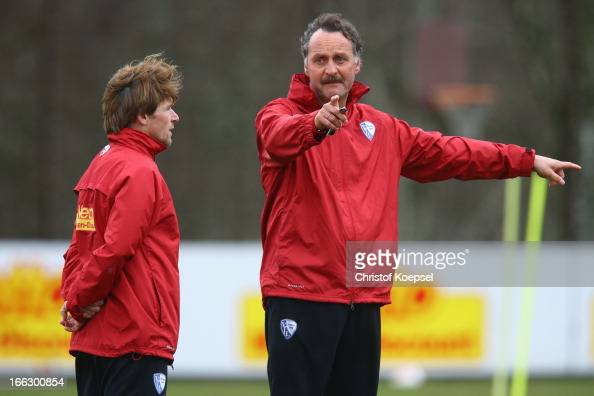 Assistant coach Dariusz Wosz and head coach Peter Neururer attend the training session of VfL Bochum at Castroper Strasse training ground on April 11...