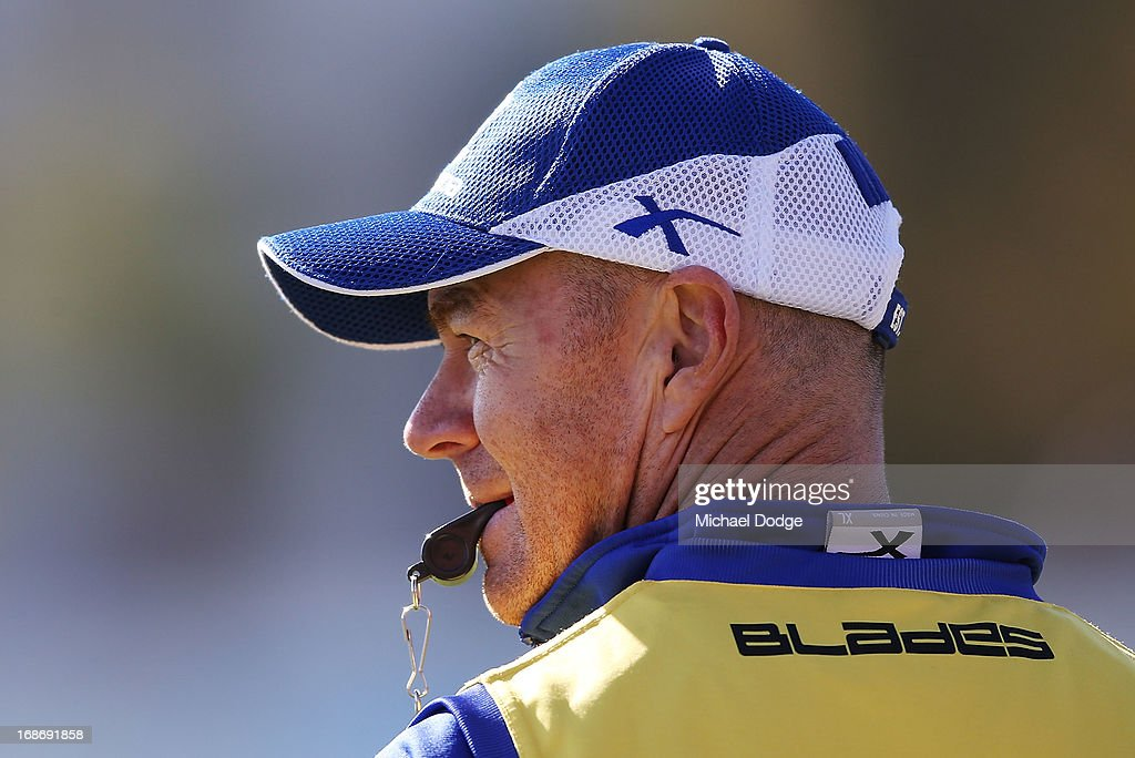 Assistant coach Darren Crocker looks ahead during a North Melbourne Kangaroos AFL training session at Aegis Park on May 14, 2013 in Melbourne, Australia.