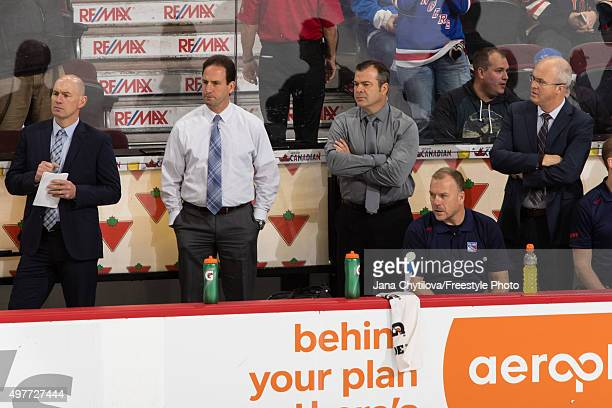 Assistant coach Darryl Williams associate coach Scott Arniel head coach Alain Vigneault and assistant Coach and goaltending coach Benoit Allaire of...