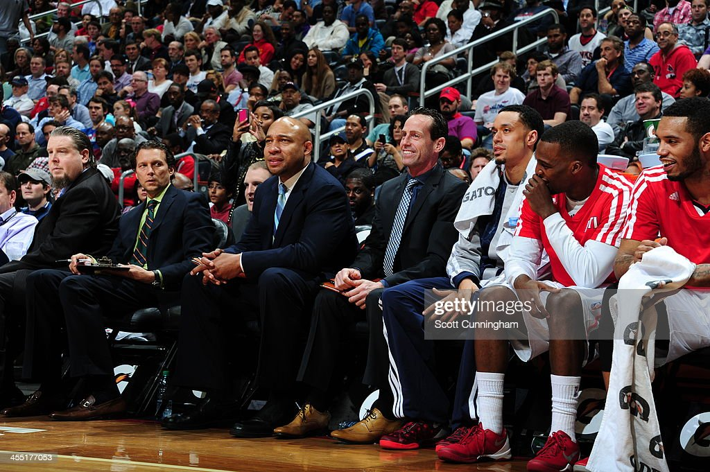 Assistant coach <a gi-track='captionPersonalityLinkClicked' href=/galleries/search?phrase=Darvin+Ham&family=editorial&specificpeople=204464 ng-click='$event.stopPropagation()'>Darvin Ham</a> of the Atlanta Hawks looks on during the game against the Los Angeles Clippers on December 4, 2013 at Philips Arena in Atlanta, Georgia.
