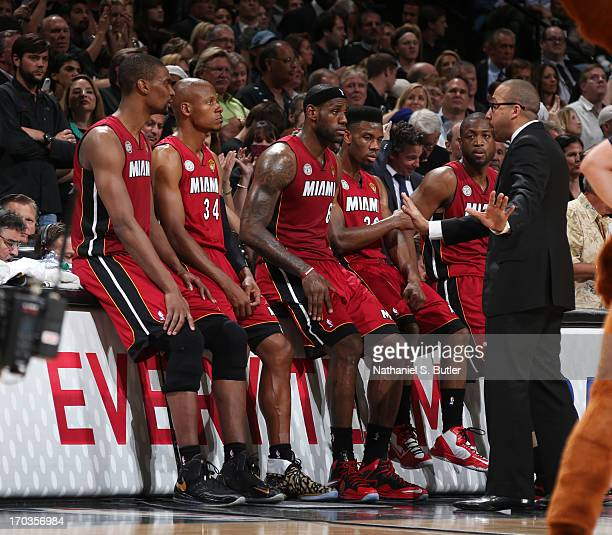 Assistant Coach David Fizdale of the Miami Heat addresses the team while playing against the San Antonio Spurs in Game Three of the 2013 NBA Finals...