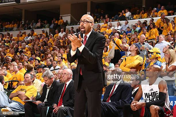 Assistant Coach David Fizdale of the Miami Heat during the game against the Indiana Pacers in Game Five of the Eastern Conference Finals during the...