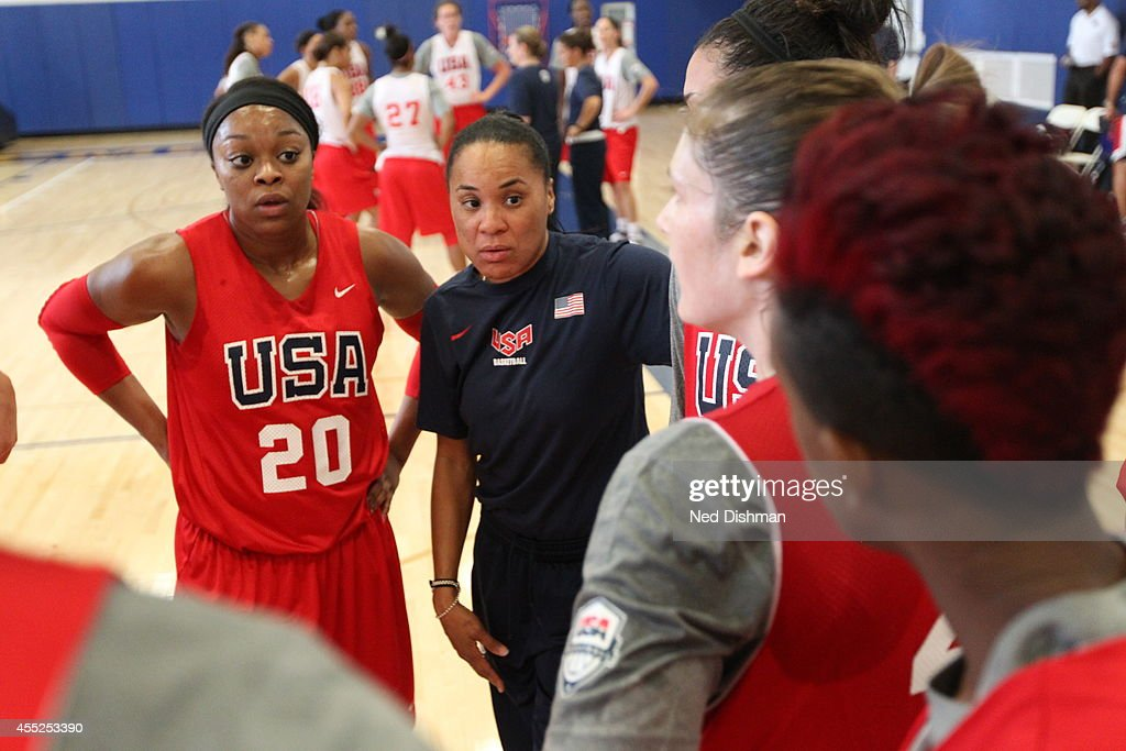Assistant coach <a gi-track='captionPersonalityLinkClicked' href=/galleries/search?phrase=Dawn+Staley&family=editorial&specificpeople=209196 ng-click='$event.stopPropagation()'>Dawn Staley</a> speaks with players during Women's Senior U.S. National Team practice on September 10, 2014 in Annapolis, MD.