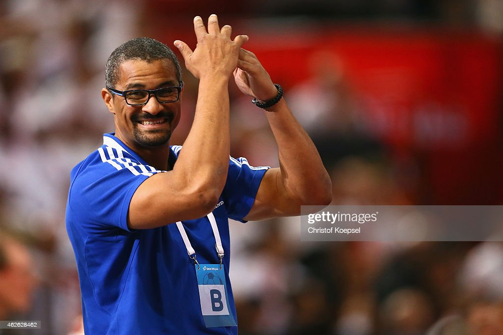 Assistant coach <a gi-track='captionPersonalityLinkClicked' href=/galleries/search?phrase=Didier+Dinart&family=editorial&specificpeople=710241 ng-click='$event.stopPropagation()'>Didier Dinart</a> looks thoughtful during the final match between Qatar and France in the Men's Handball World Championship at Lusail Multipurpose Hall on February 1, 2015 in Doha, Qatar.
