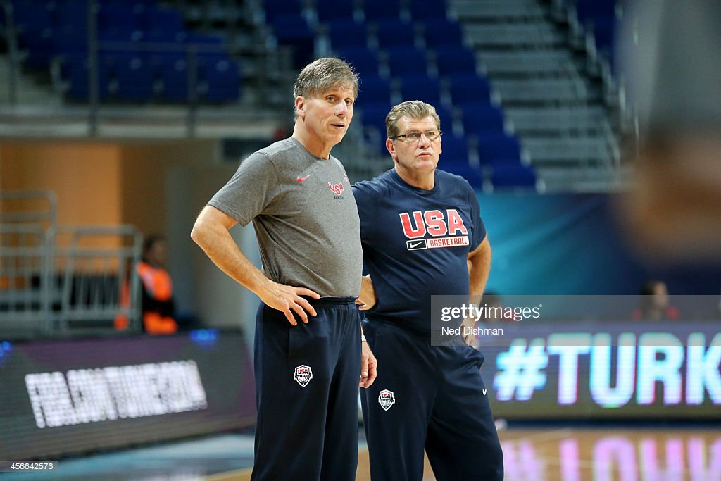 Assistant coach Doug Bruno and head coach <a gi-track='captionPersonalityLinkClicked' href=/galleries/search?phrase=Geno+Auriemma&family=editorial&specificpeople=704607 ng-click='$event.stopPropagation()'>Geno Auriemma</a> of the Women's Senior U.S. National Team look on during a team practice before the semifinals of the 2014 FIBA World Championships on October 4, 2014 in Istanbul, Turkey.