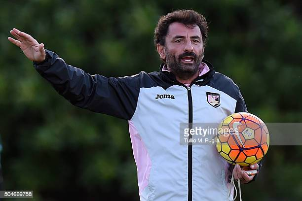 Assistant Coach Giovanni Bosi of Palermo issues instructions during a palermo training session at Tenente Carmelo Onorato training center on January...