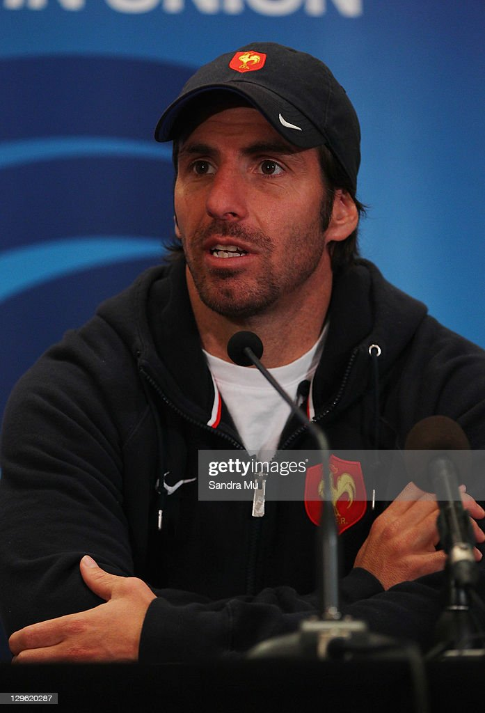 Assistant Coach <a gi-track='captionPersonalityLinkClicked' href=/galleries/search?phrase=Gonzalo+Quesada&family=editorial&specificpeople=685928 ng-click='$event.stopPropagation()'>Gonzalo Quesada</a> speaks to media during a France IRB Rugby World Cup 2011 press conference at The Crowne Plaza on October 19, 2011 in Auckland, New Zealand.