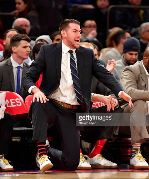 Assistant coach Greg St Jean of the St JohnÕs Red Storm instructs his team against the Xavier Musketeers at Madison Square Garden on January 29 2017...
