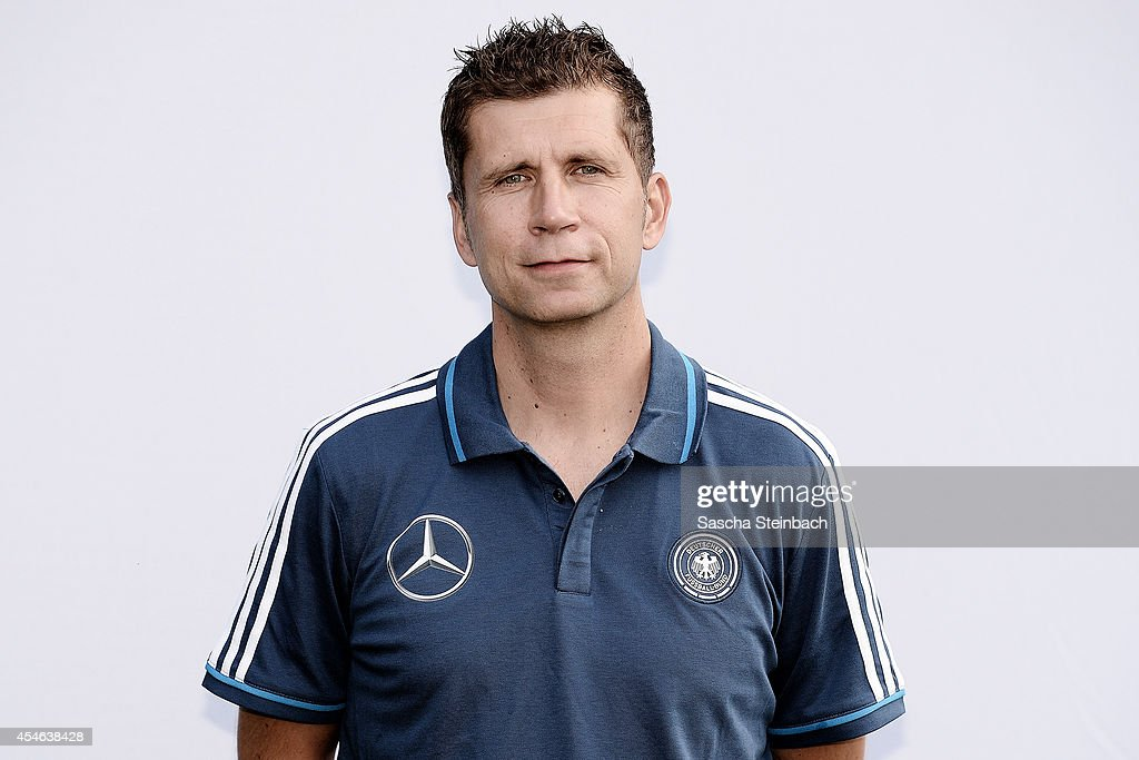 Assistant coach Guido Streichsbier poses during the U19 Germany team presentation at Sportpark Hoehenberg on September 4, 2014 in Cologne, Germany.