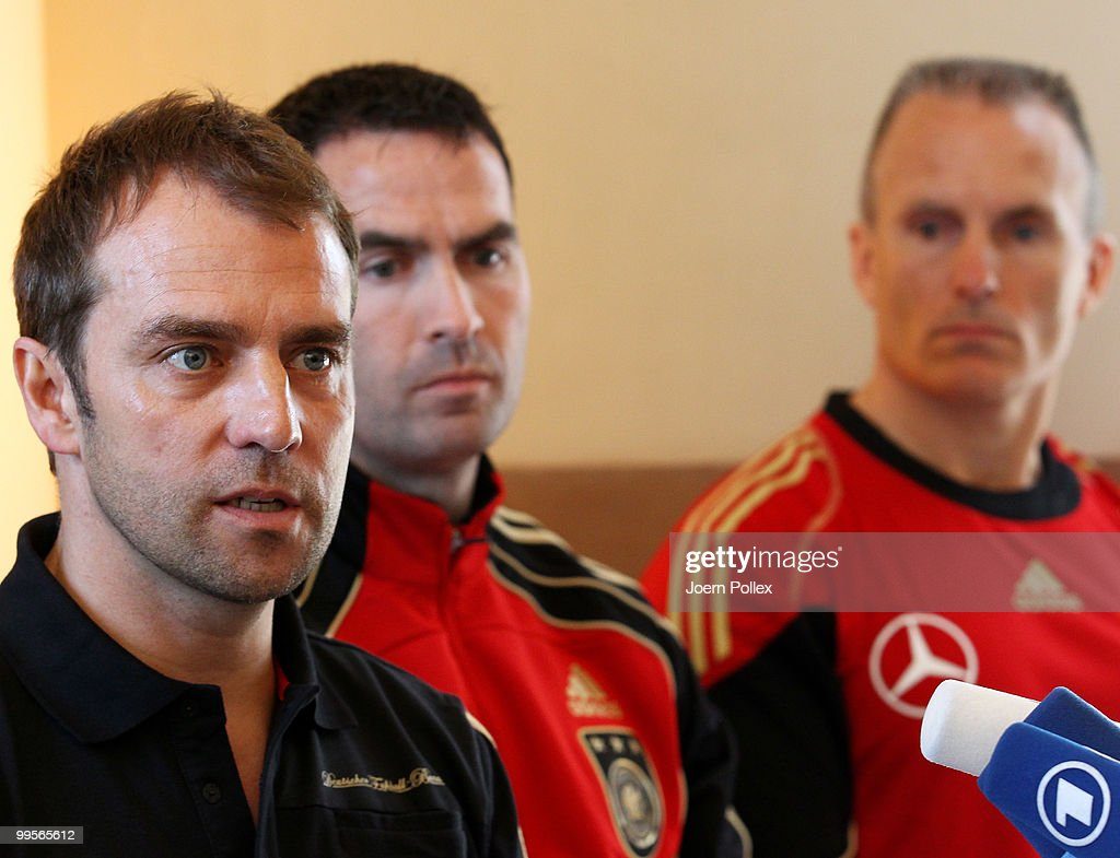 Assistant coach Hans Dieter Flick of Germany talks to the media during a press conference of the German National Football team at Verdura Golf and Spa Resort is pictured on May 15, 2010 in Sciacca, Italy.
