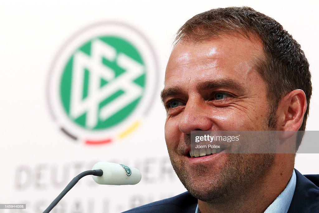 Assistant coach <a gi-track='captionPersonalityLinkClicked' href=/galleries/search?phrase=Hans-Dieter+Flick&family=editorial&specificpeople=2439902 ng-click='$event.stopPropagation()'>Hans-Dieter Flick</a> attends the Germany press conference at the press center on June 8, 2012 in Gdansk, Poland.