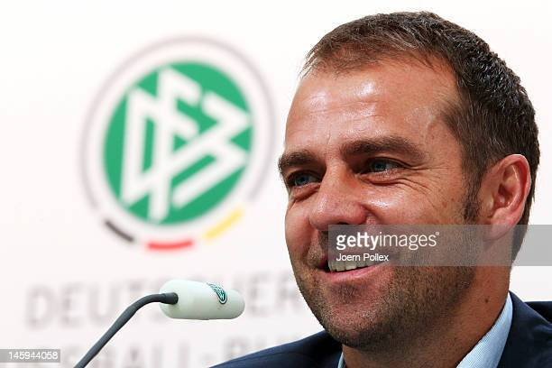 Assistant coach HansDieter Flick attends the Germany press conference at the press center on June 8 2012 in Gdansk Poland