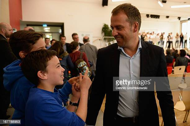 Assistant coach HansDieter Flick attends the launch of the DFB and Commerzbank Junior Coach Program on April 30 2013 in Mainz Germany