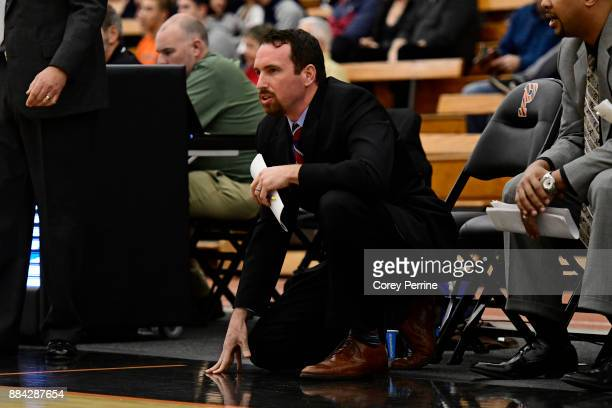 Assistant coach Harry Morra of the Lehigh Mountain Hawks looks on against the Princeton Tigers during the first half at L Stockwell Jadwin Gymnasium...