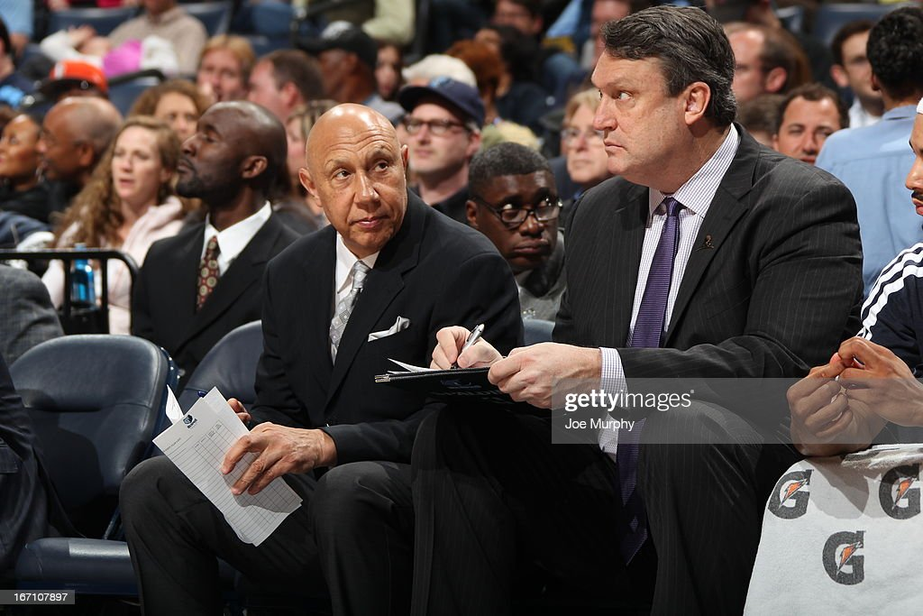 Assistant Coach, <a gi-track='captionPersonalityLinkClicked' href=/galleries/search?phrase=Henry+Bibby&family=editorial&specificpeople=243003 ng-click='$event.stopPropagation()'>Henry Bibby</a> of the Memphis Grizzlies, looks on during the game against the Minnesota Timberwolves on March 18, 2013 at FedExForum in Memphis, Tennessee.