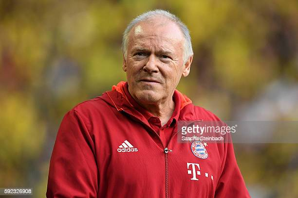 Assistant coach Hermann Gerland of Muenchen looks on during the DFL Supercup 2016 match between Borussia Dortmund and FC Bayern Muenchen at Signal...