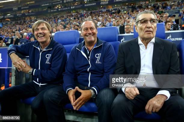 Assistant coach Hubert Neu head coach Huub Stevens and former manager Rudi Assauer are seen during the 20 years of Eurofighter match between...