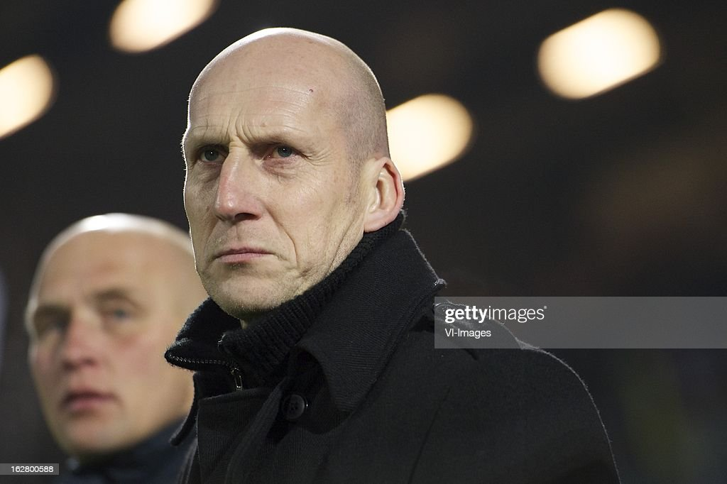 assistant coach Jaap Stam of PEC Zwolle during the Dutch Cup match between PEC Zwolle and PSV Eindhoven at the IJsseldelta Stadium on february 27, 2013 in Zwolle, The Netherlands
