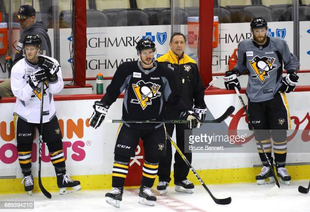 Assistant Coach Jacques Martin and Sidney Crosby of the Pittsburgh Penguins look on in practice during Media Day for the 2017 NHL Stanley Cup Final...