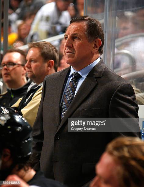 Assistant coach Jacques Martin of the Pittsburgh Penguins looks on against the Nashville Predators at Consol Energy Center on March 31 2016 in...