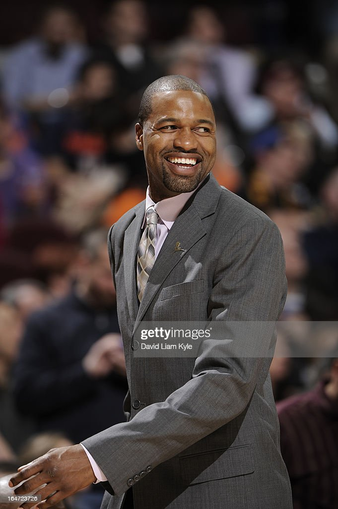 Assistant Coach Jamahl Mosley of the Cleveland Cavaliers looks on in the game against the New York Knicks at The Quicken Loans Arena on March 4, 2013 in Cleveland, Ohio.