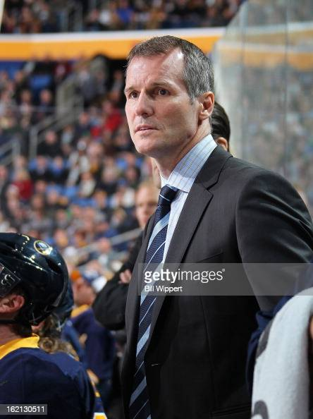 Assistant coach James Patrick of the Buffalo Sabres watches from the bench against the Boston Bruins on February 15 2013 at the First Niagara Center...