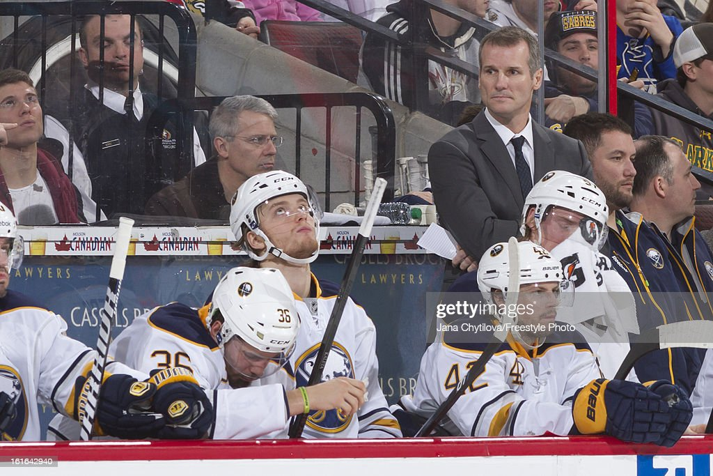 Assistant coach James Patrick of the Buffalo Sabres watches the action from the bench during an NHL game against the Ottawa Senators at Scotiabank...