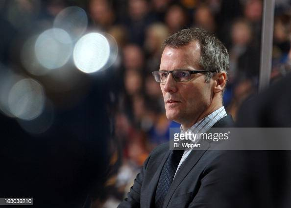Assistant coach James Patrick of the Buffalo Sabres watches their game against the New York Islanders on February 23 2013 at the First Niagara Center...