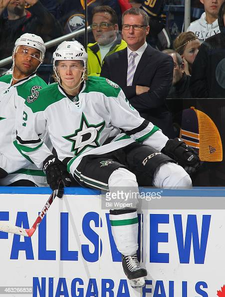 Assistant coach James Patrick of the Dallas Stars watches the action against the Buffalo Sabres on February 7 2015 at the First Niagara Center in...