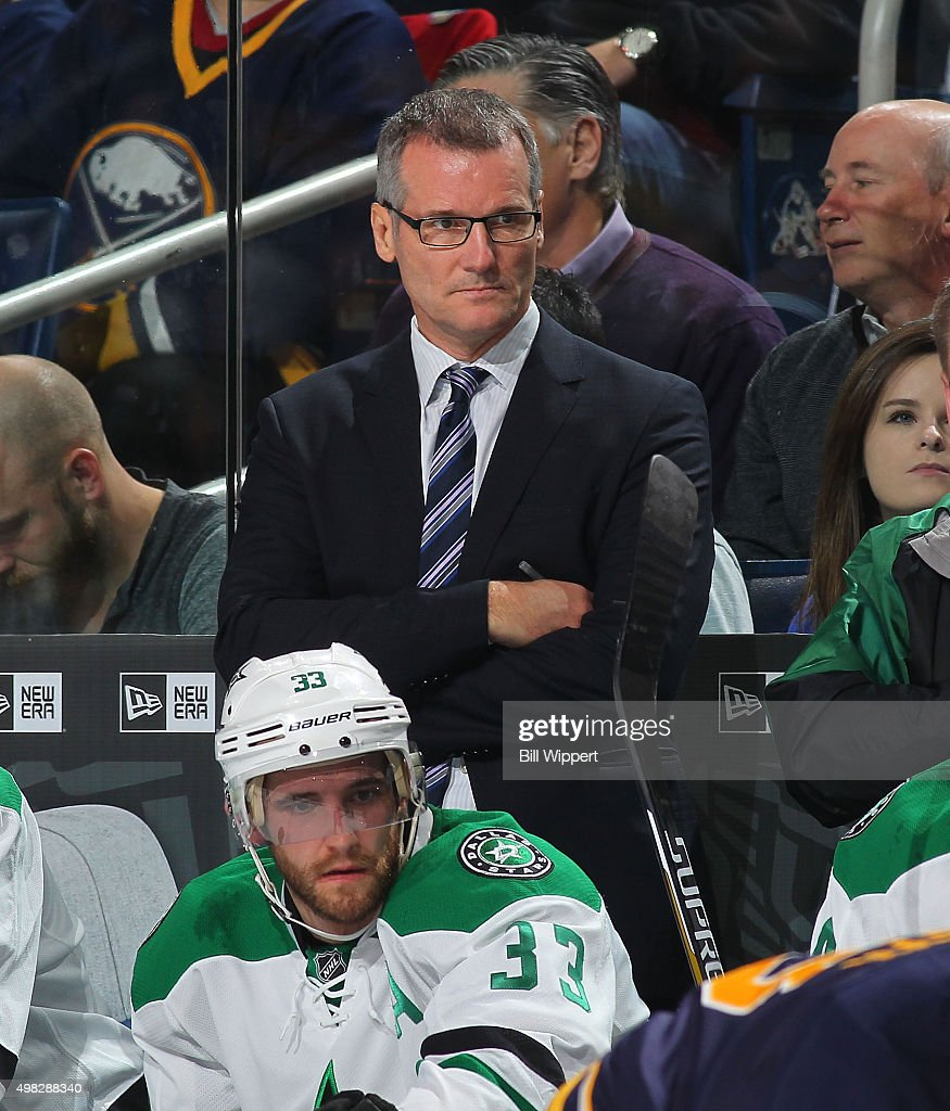 Assistant coach James Patrick of the Dallas Stars watches the action against the Buffalo Sabres during an NHL game on November 17 2015 at the First...