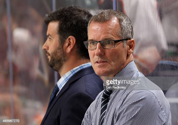Assistant Coach James Patrick of the Dallas Stars watches the pregame warmups prior to his game against the Philadelphia Flyers on October 20 2015 at...