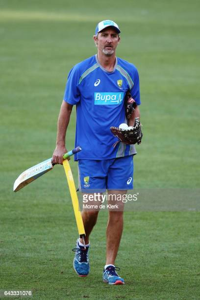 Assistant coach Jason Gillespie looks on during an Australia T20 training session at Adelaide Oval on February 21 2017 in Adelaide Australia